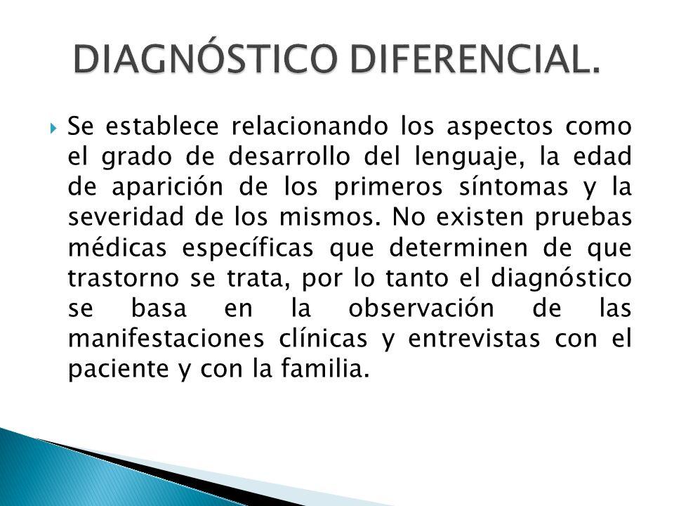 Se establece relacionando los aspectos como el grado de desarrollo del lenguaje, la edad de aparición de los primeros síntomas y la severidad de los m