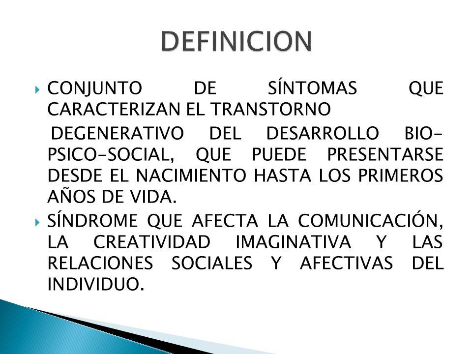 CONJUNTO DE SÍNTOMAS QUE CARACTERIZAN EL TRANSTORNO DEGENERATIVO DEL DESARROLLO BIO- PSICO-SOCIAL, QUE PUEDE PRESENTARSE DESDE EL NACIMIENTO HASTA LOS