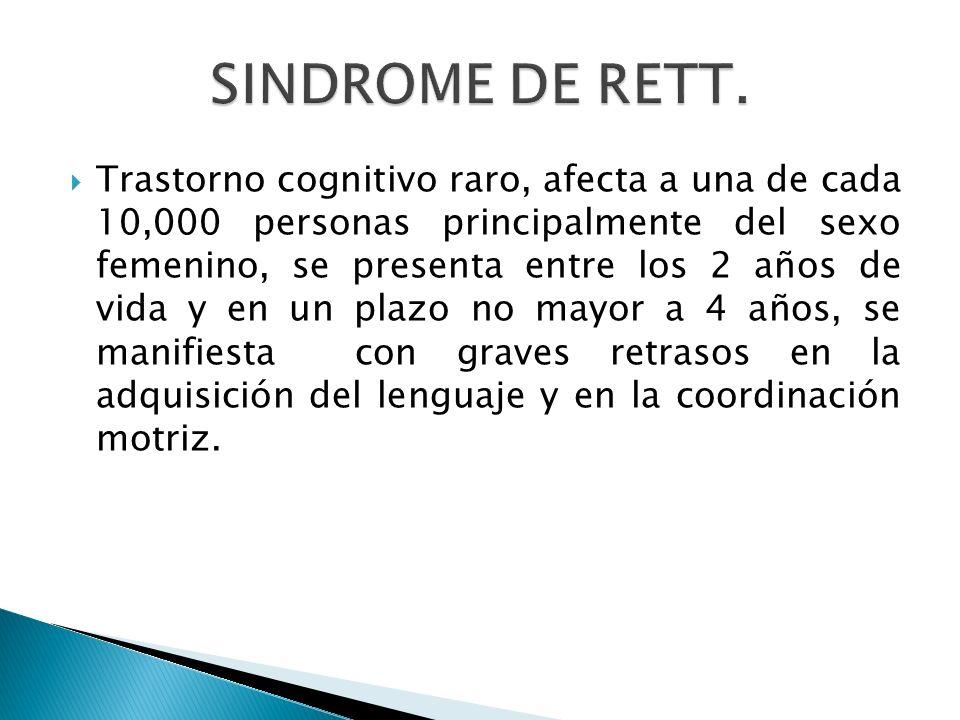Trastorno cognitivo raro, afecta a una de cada 10,000 personas principalmente del sexo femenino, se presenta entre los 2 años de vida y en un plazo no
