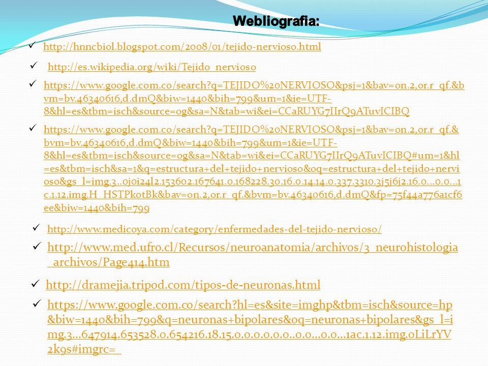 http://es.wikipedia.org/wiki/Tejido_nervioso http://hnncbiol.blogspot.com/2008/01/tejido-nervioso.html https://www.google.com.co/search?q=TEJIDO%20NER