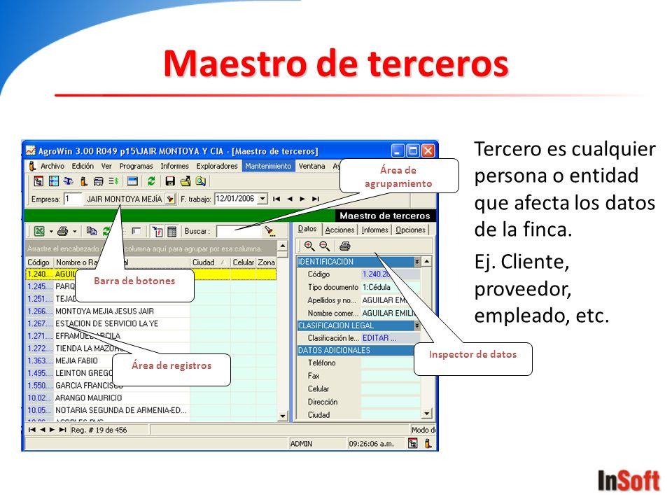 Maestro de terceros Área de registros Inspector de datos Barra de botones Área de agrupamiento Tercero es cualquier persona o entidad que afecta los d