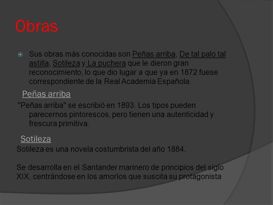 Obras Sus obras más conocidas son Peñas arriba, De tal palo tal astilla, Sotileza y La puchera que le dieron gran reconocimiento, lo que dio lugar a q