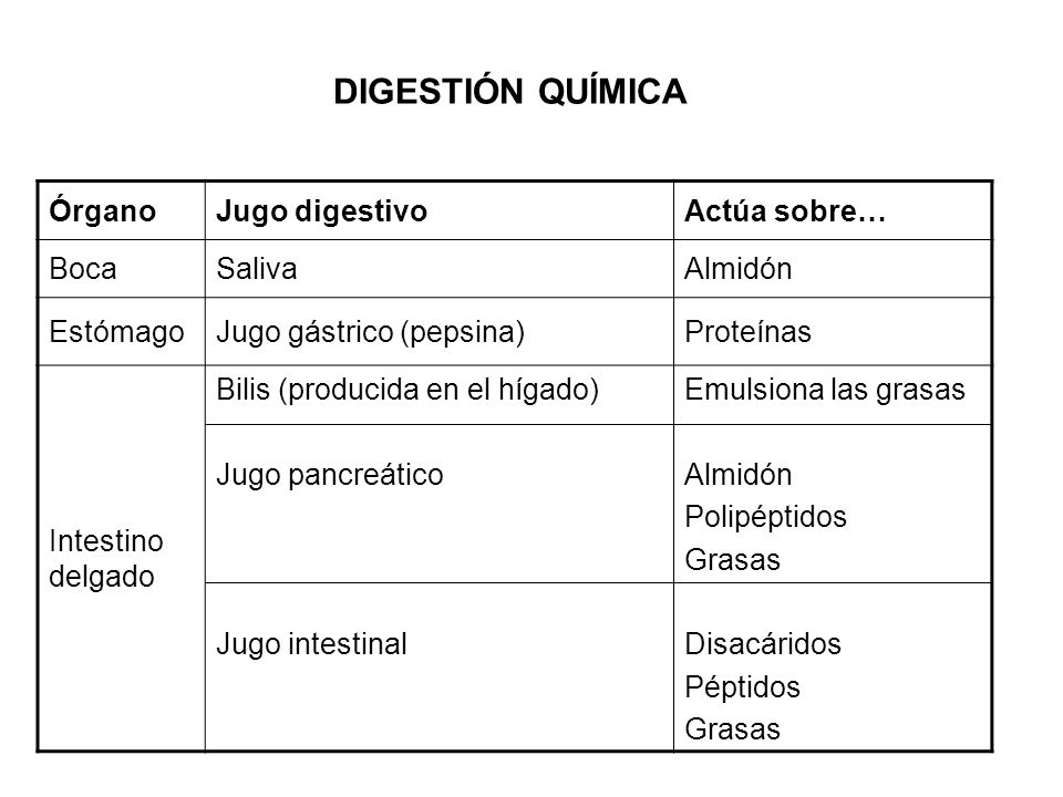 ÓrganoJugo digestivoActúa sobre… BocaSalivaAlmidón EstómagoJugo gástrico (pepsina)Proteínas Intestino delgado Bilis (producida en el hígado) Jugo pancreático Jugo intestinal Emulsiona las grasas Almidón Polipéptidos Grasas Disacáridos Péptidos Grasas DIGESTIÓN QUÍMICA