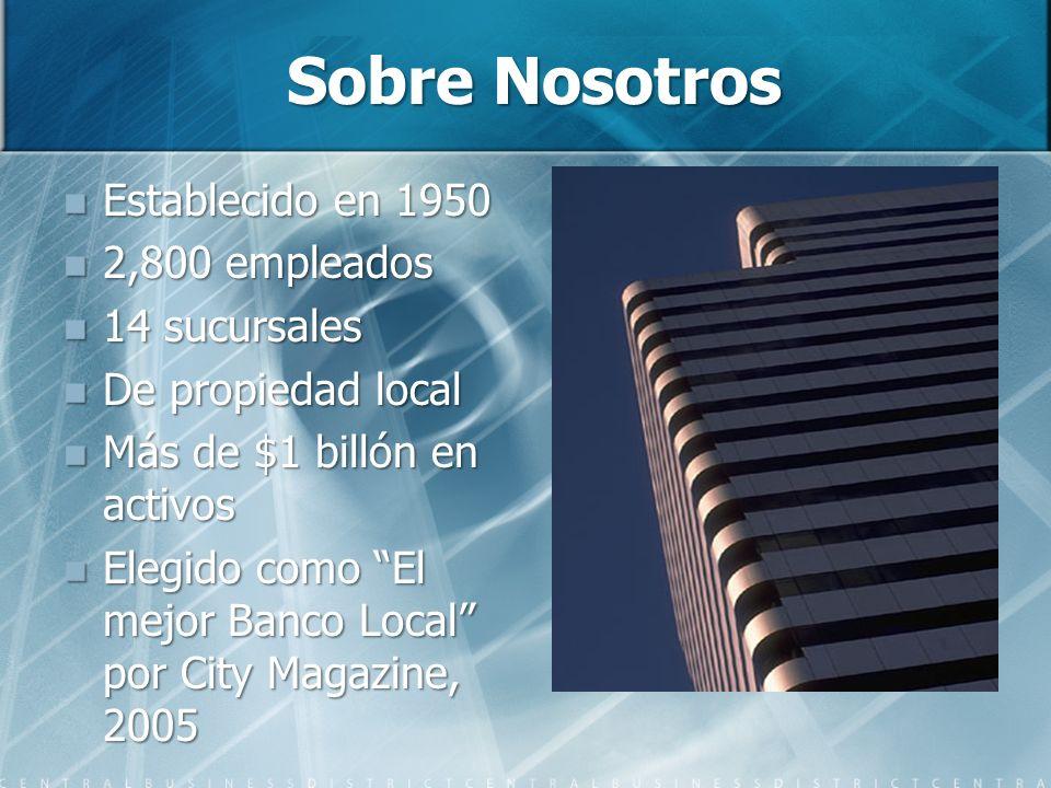 Sobre Nosotros Establecido en 1950 Establecido en 1950 2,800 empleados 2,800 empleados 14 sucursales 14 sucursales De propiedad local De propiedad loc