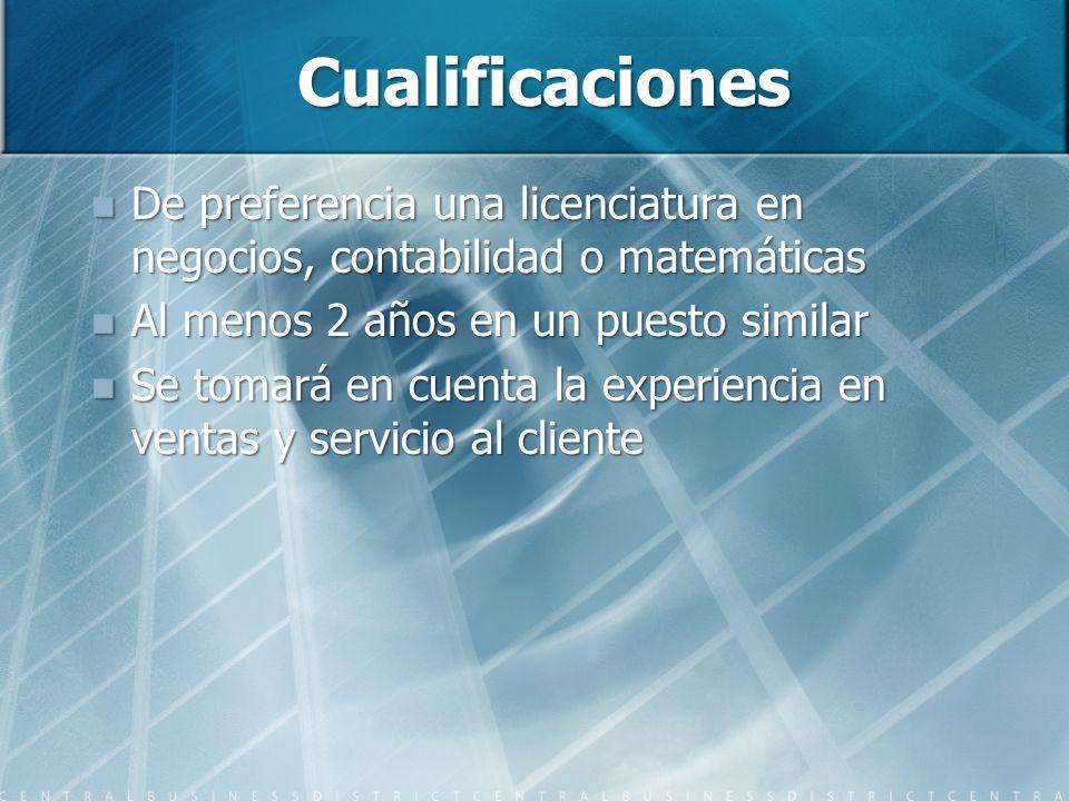 Cualificaciones De preferencia una licenciatura en negocios, contabilidad o matemáticas De preferencia una licenciatura en negocios, contabilidad o ma
