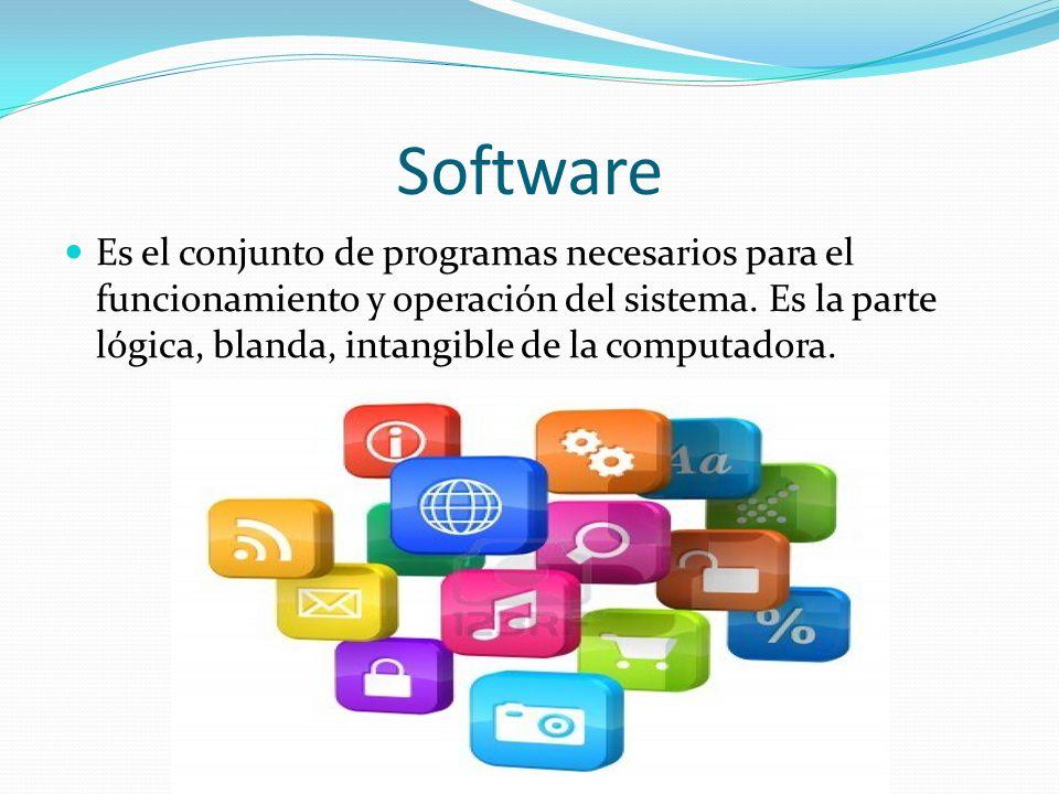 Software Es el conjunto de programas necesarios para el funcionamiento y operación del sistema. Es la parte lógica, blanda, intangible de la computado