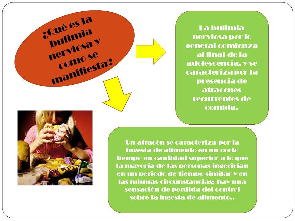 ¿Qué es la bulimia nerviosa y como se manifiesta? La bulimia nerviosa por lo general comienza al final de la adolescencia, y se caracteriza por la pre