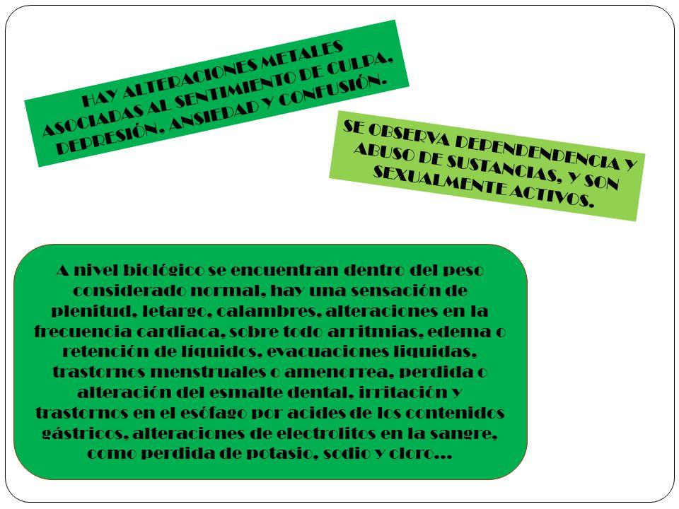 HAY ALTERACIONES METALES ASOCIADAS AL SENTIMIENTO DE CULPA, DEPRESIÓN, ANSIEDAD Y CONFUSIÓN. SE OBSERVA DEPENDENDENCIA Y ABUSO DE SUSTANCIAS, Y SON SE