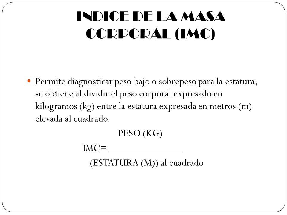 INDICE DE LA MASA CORPORAL (IMC) Permite diagnosticar peso bajo o sobrepeso para la estatura, se obtiene al dividir el peso corporal expresado en kilo