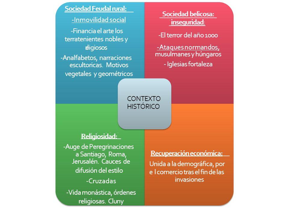 Sociedad Feudal rural: -Inmovilidad social -Financia el arte los terratenientes nobles y re ligiosos -Analfabetos, narraciones escultoricas. Motivos v