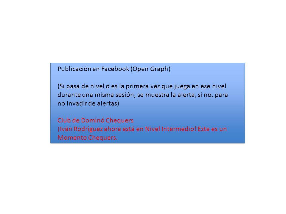 Publicación en Facebook (Open Graph) (Si pasa de nivel o es la primera vez que juega en ese nivel durante una misma sesión, se muestra la alerta, si no, para no invadir de alertas) Club de Dominó Chequers ¡Iván Rodríguez ahora está en Nivel Intermedio.