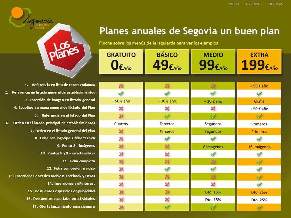 Planes anuales de Segovia un buen plan Pincha sobre los menús de la izquierda para ver los ejemplos ÍNDICEOFERTASRAZONES 1.Referencia en lista de recomendamosReferencia en lista de recomendamos 2.Referencia en listado general de establecimientosReferencia en listado general de establecimientos 3.
