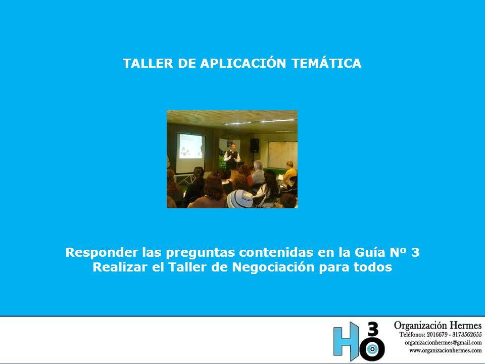 TALLER DE APLICACIÓN TEMÁTICA Responder las preguntas contenidas en la Guía Nº 3 Realizar el Taller de Negociación para todos