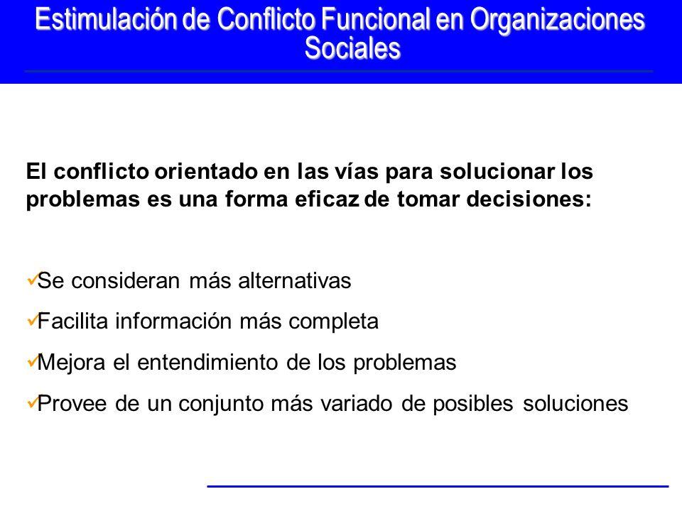 Estimulación de Conflicto Funcional en Organizaciones Sociales El conflicto orientado en las vías para solucionar los problemas es una forma eficaz de