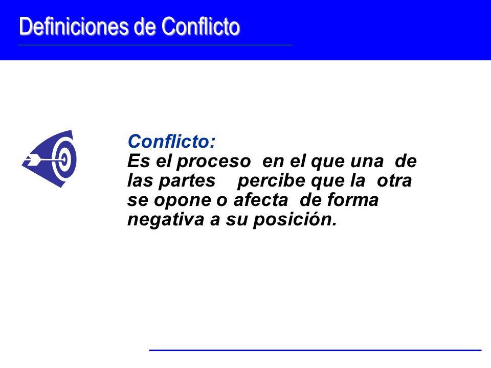 Definiciones de Conflicto Conflicto: Es el proceso en el que una de las partes percibe que la otra se opone o afecta de forma negativa a su posición.