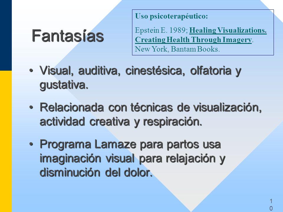1010 Fantasías Visual, auditiva, cinestésica, olfatoria y gustativa.Visual, auditiva, cinestésica, olfatoria y gustativa. Relacionada con técnicas de