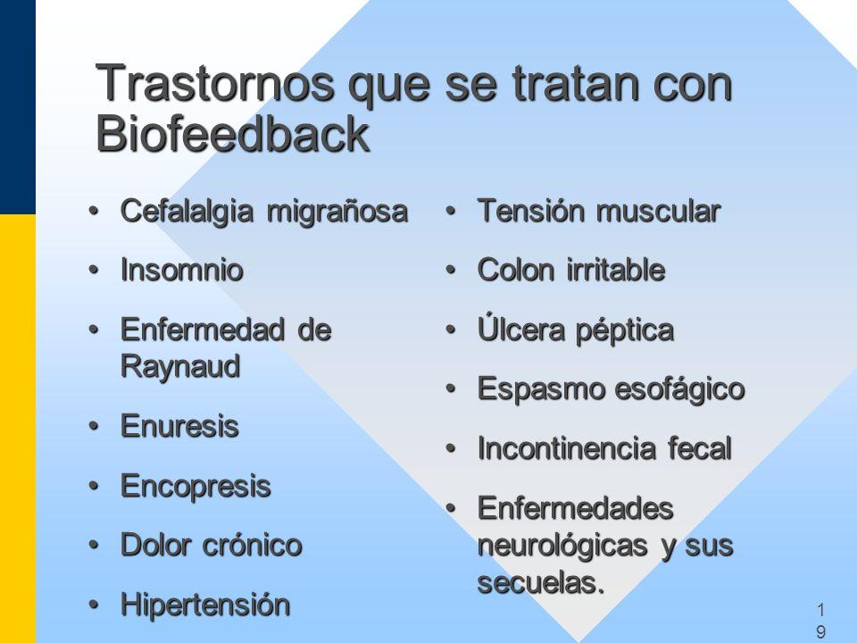 1919 Trastornos que se tratan con Biofeedback Cefalalgia migrañosaCefalalgia migrañosa InsomnioInsomnio Enfermedad de RaynaudEnfermedad de Raynaud Enu