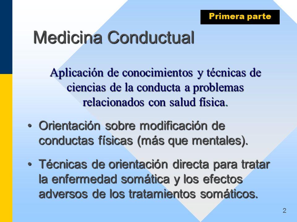 2 Medicina Conductual Aplicación de conocimientos y técnicas de ciencias de la conducta a problemas relacionados con salud física. Aplicación de conoc