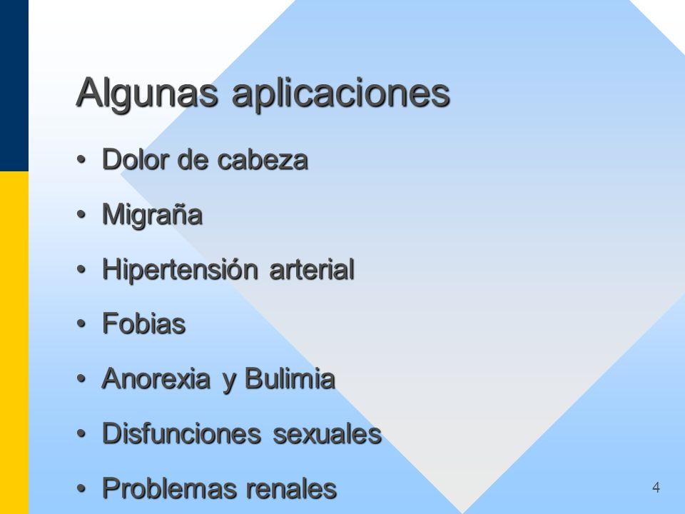 4 Algunas aplicaciones Dolor de cabezaDolor de cabeza MigrañaMigraña Hipertensión arterialHipertensión arterial FobiasFobias Anorexia y BulimiaAnorexi