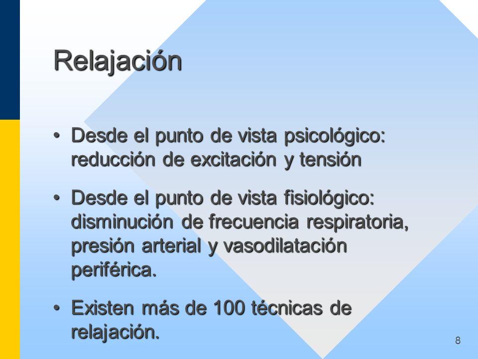 8 Relajación Desde el punto de vista psicológico: reducción de excitación y tensiónDesde el punto de vista psicológico: reducción de excitación y tens