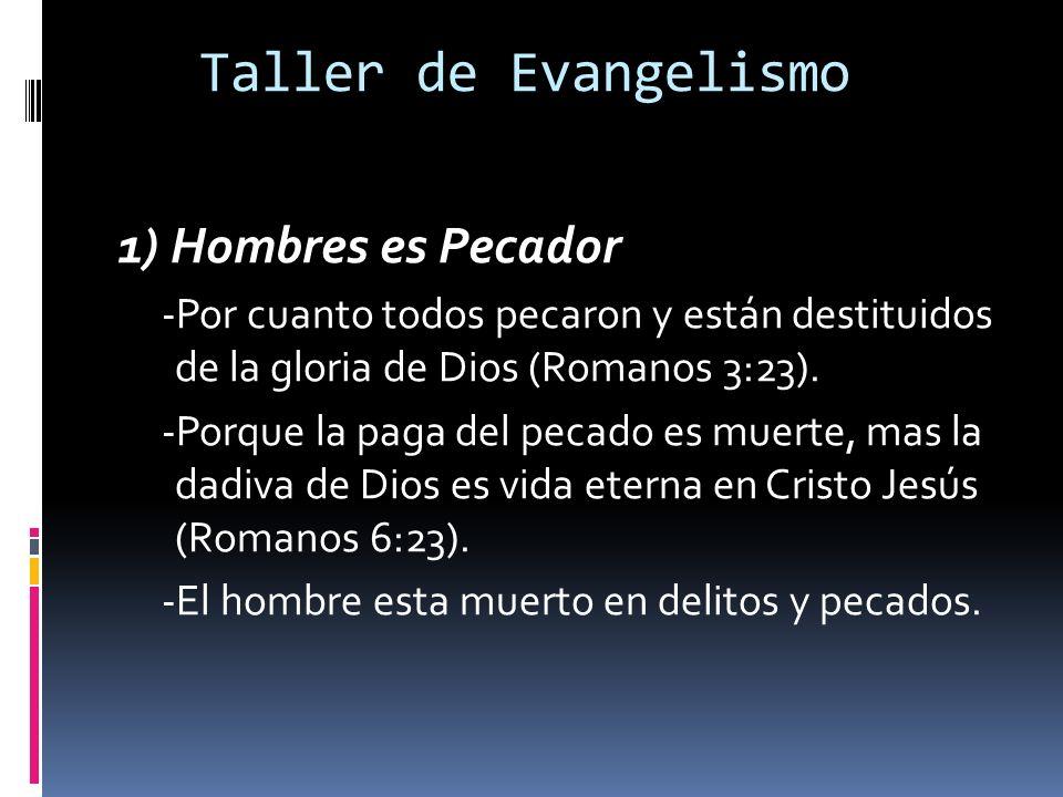 Taller de Evangelismo 1) Hombres es Pecador -Por cuanto todos pecaron y están destituidos de la gloria de Dios (Romanos 3:23).