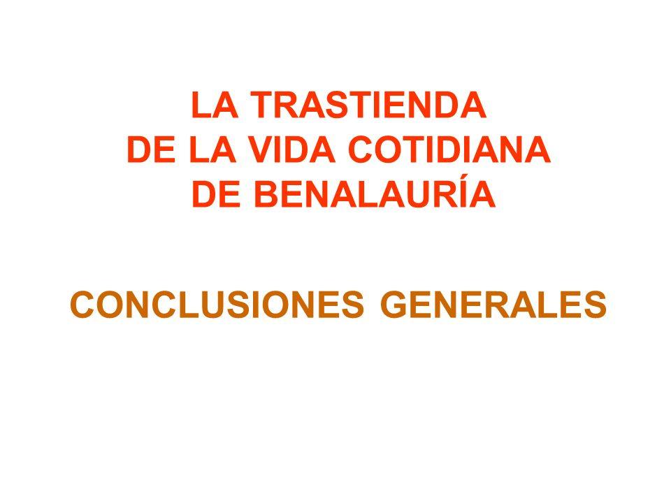 LA TRASTIENDA DE LA VIDA COTIDIANA DE BENALAURÍA CONCLUSIONES GENERALES