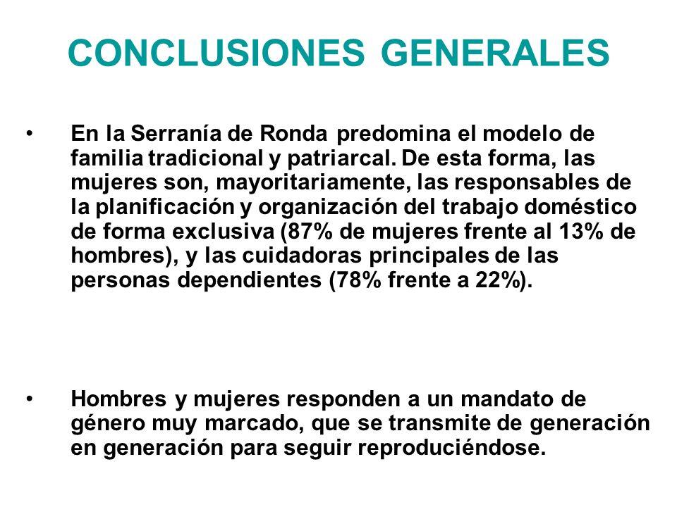 CONCLUSIONES GENERALES En la Serranía de Ronda predomina el modelo de familia tradicional y patriarcal. De esta forma, las mujeres son, mayoritariamen