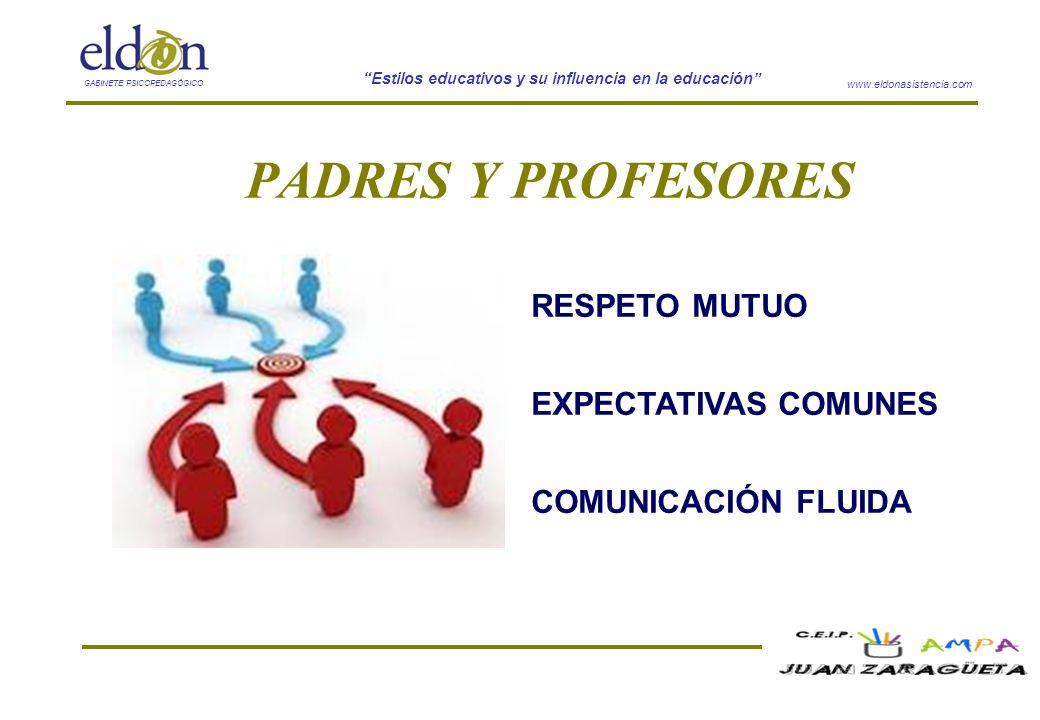 www.eldonasistencia.com Estilos educativos y su influencia en la educación GABINETE PSICOPEDAGÓGICO PADRES Y PROFESORES RESPETO MUTUO EXPECTATIVAS COM