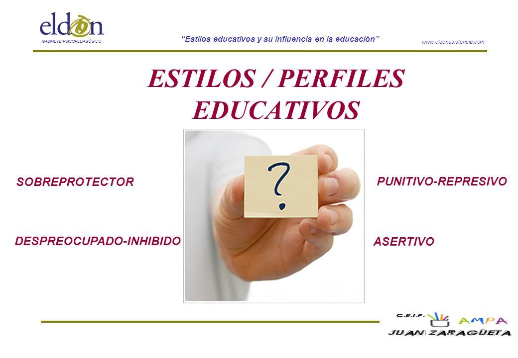 www.eldonasistencia.com Estilos educativos y su influencia en la educación GABINETE PSICOPEDAGÓGICO ESTILOS / PERFILES EDUCATIVOS SOBREPROTECTOR DESPR