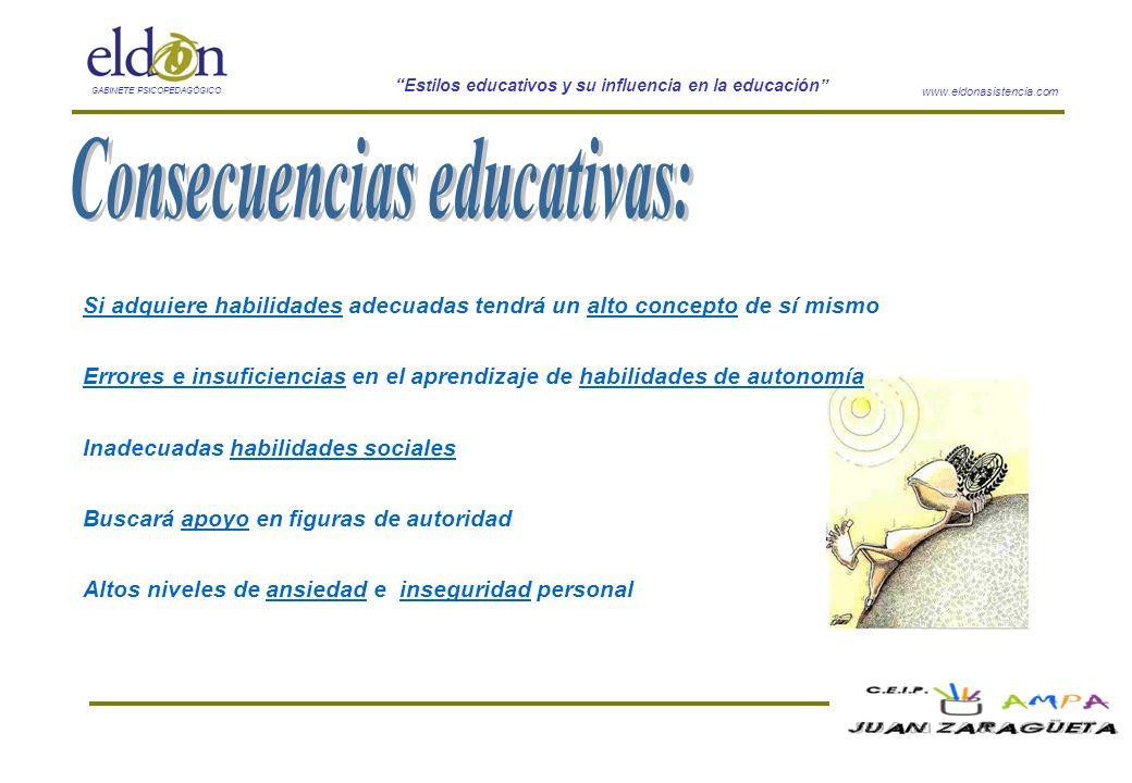 www.eldonasistencia.com Estilos educativos y su influencia en la educación GABINETE PSICOPEDAGÓGICO Si adquiere habilidades adecuadas tendrá un alto c