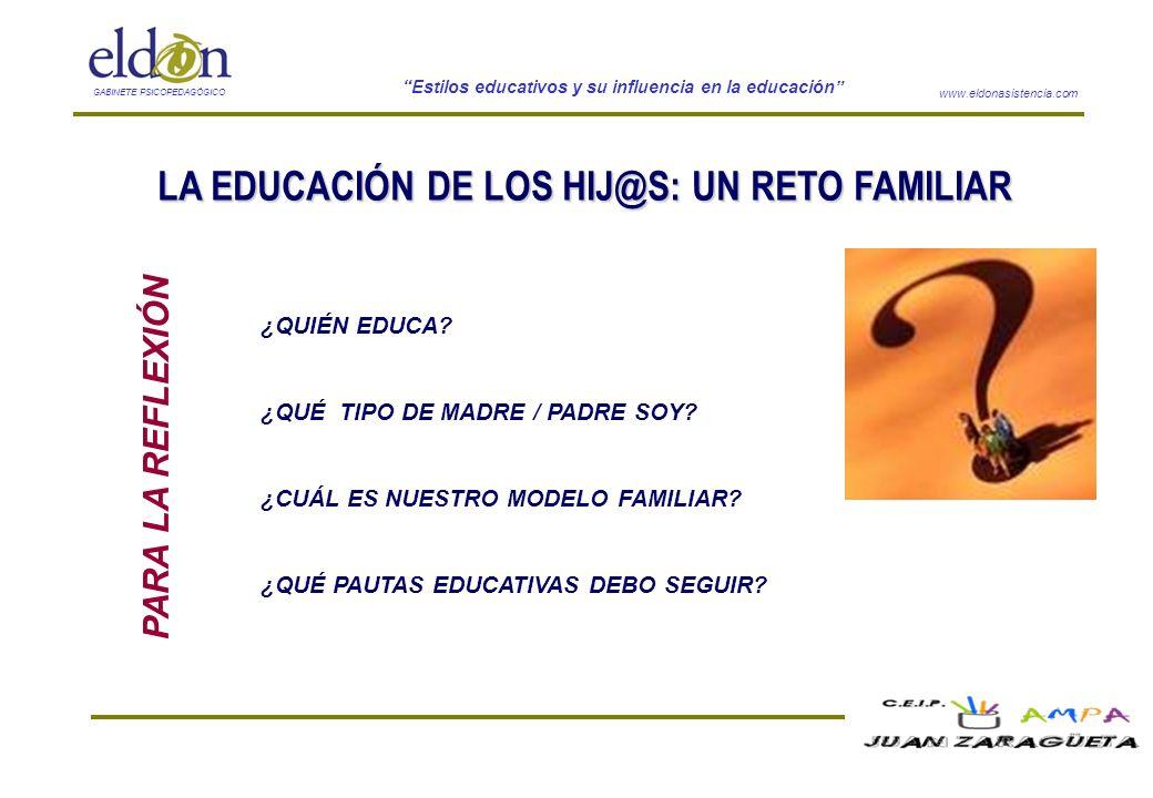 www.eldonasistencia.com Estilos educativos y su influencia en la educación GABINETE PSICOPEDAGÓGICO PARA LA REFLEXIÓN ¿QUIÉN EDUCA? ¿QUÉ TIPO DE MADRE