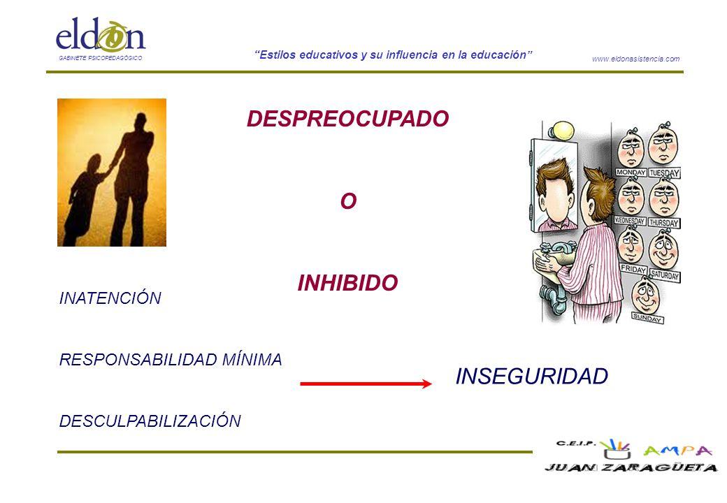 www.eldonasistencia.com Estilos educativos y su influencia en la educación GABINETE PSICOPEDAGÓGICO DESPREOCUPADO O INHIBIDO INATENCIÓN RESPONSABILIDA