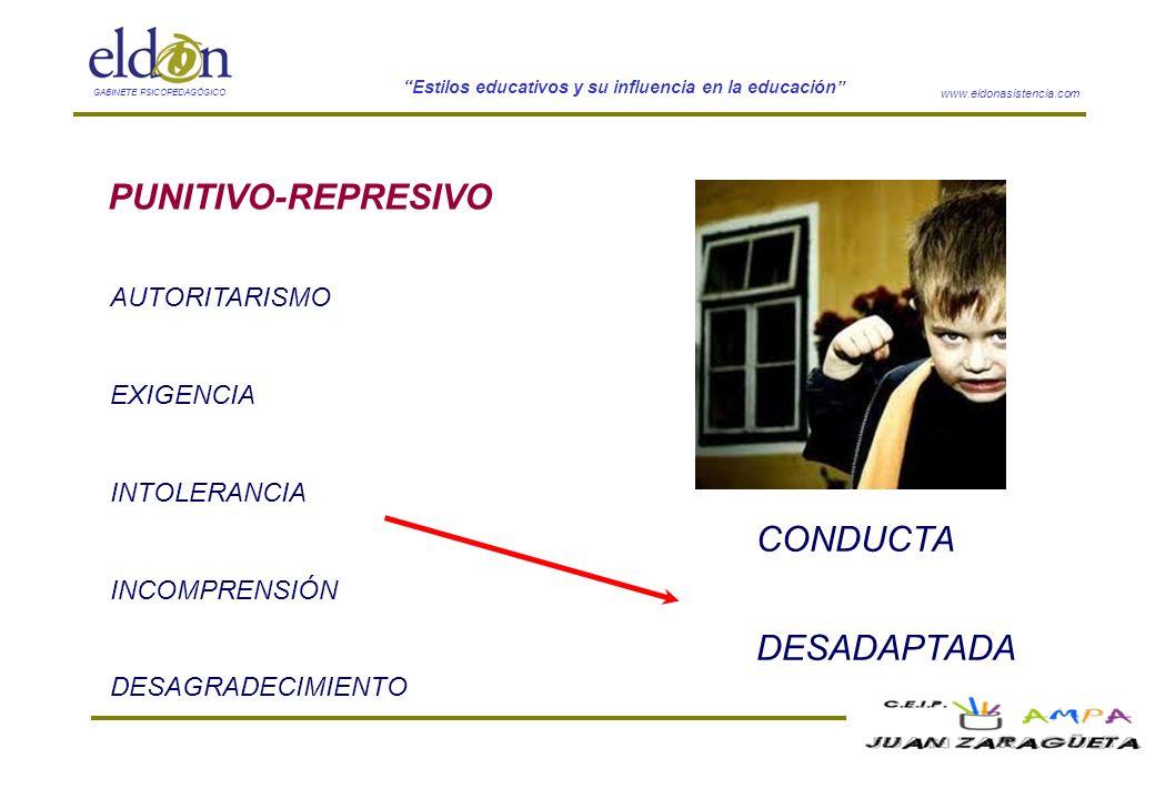 www.eldonasistencia.com Estilos educativos y su influencia en la educación GABINETE PSICOPEDAGÓGICO PUNITIVO-REPRESIVO AUTORITARISMO EXIGENCIA INTOLER