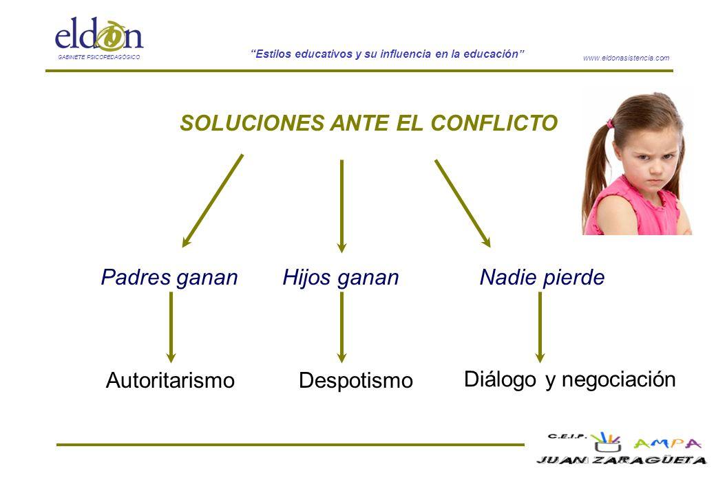 www.eldonasistencia.com Estilos educativos y su influencia en la educación GABINETE PSICOPEDAGÓGICO SOLUCIONES ANTE EL CONFLICTO Padres gananNadie pie