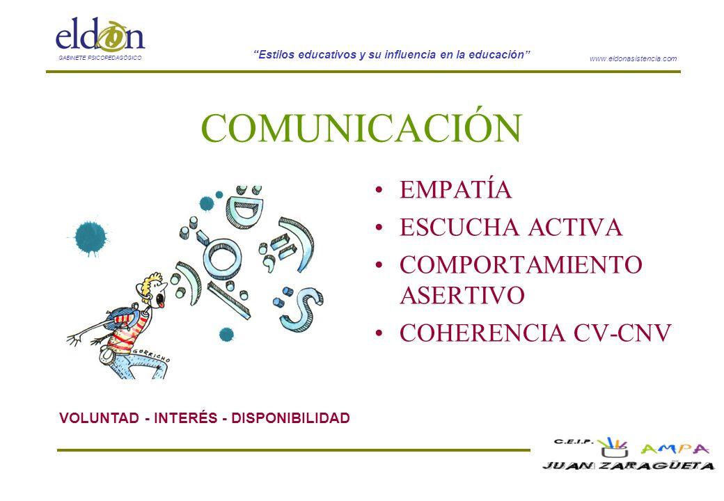 www.eldonasistencia.com Estilos educativos y su influencia en la educación GABINETE PSICOPEDAGÓGICO COMUNICACIÓN EMPATÍA ESCUCHA ACTIVA COMPORTAMIENTO