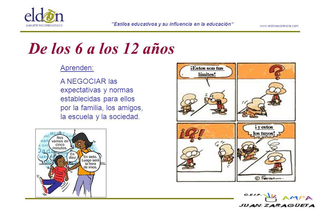 www.eldonasistencia.com Estilos educativos y su influencia en la educación GABINETE PSICOPEDAGÓGICO De los 6 a los 12 años Aprenden: A NEGOCIAR las ex
