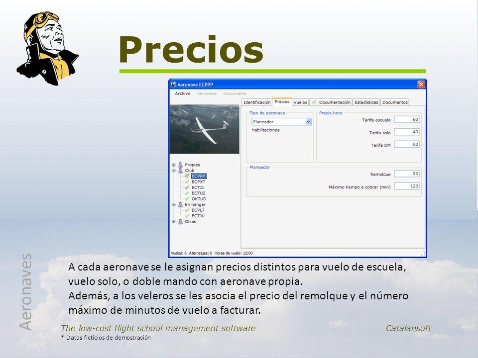Precios The low-cost flight school management softwareCatalansoft * Datos ficticios de demostración Aeronaves A cada aeronave se le asignan precios di