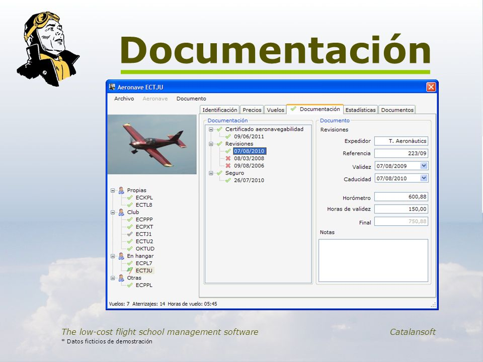 Documentación The low-cost flight school management software Catalansoft * Datos ficticios de demostración