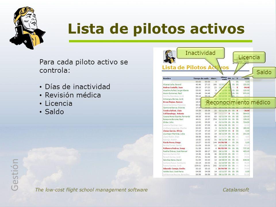 Lista de pilotos activos The low-cost flight school management software Catalansoft Para cada piloto activo se controla: Días de inactividad Revisión