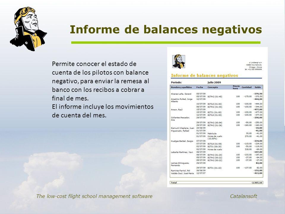Informe de balances negativos The low-cost flight school management software Catalansoft Permite conocer el estado de cuenta de los pilotos con balanc