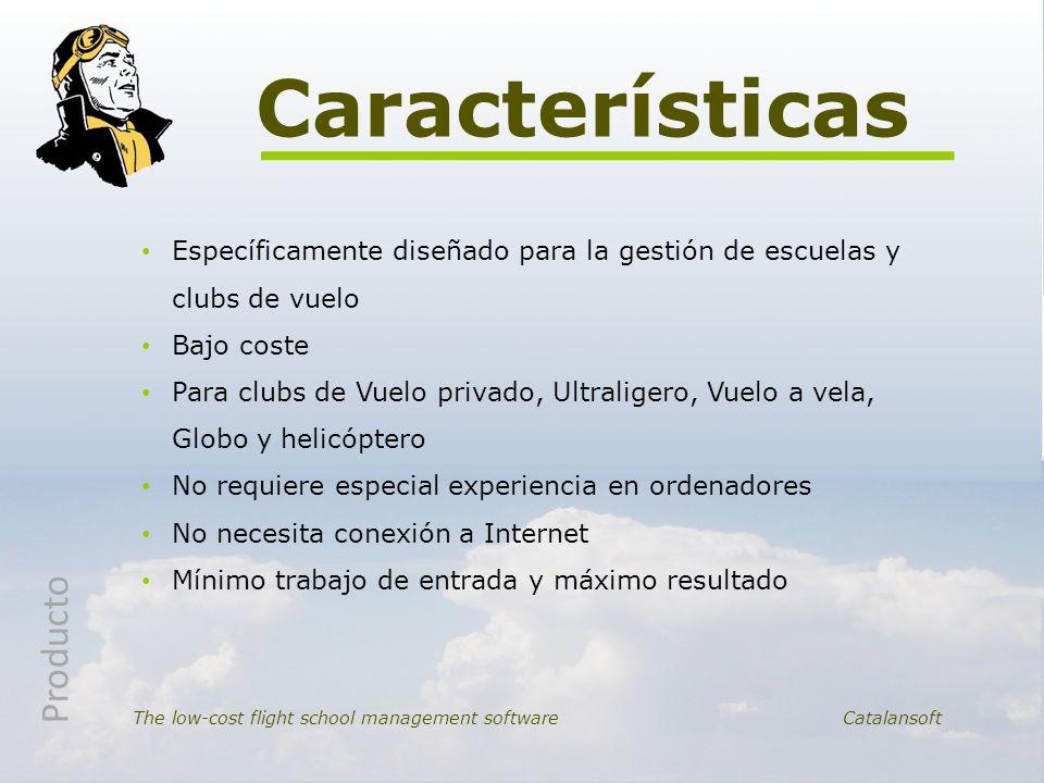 Específicamente diseñado para la gestión de escuelas y clubs de vuelo Bajo coste Para clubs de Vuelo privado, Ultraligero, Vuelo a vela, Globo y helic