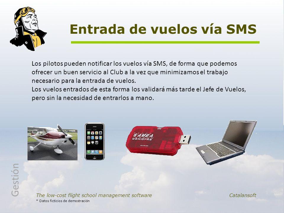 Entrada de vuelos vía SMS The low-cost flight school management software Catalansoft * Datos ficticios de demostración Los pilotos pueden notificar lo