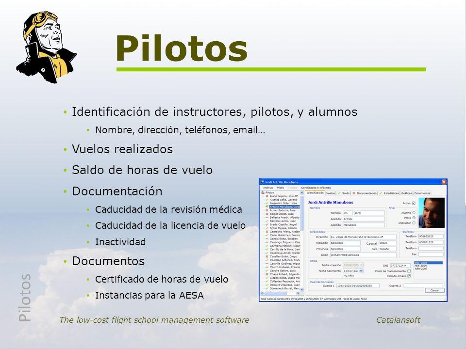 Identificación de instructores, pilotos, y alumnos Nombre, dirección, teléfonos, email… Vuelos realizados Saldo de horas de vuelo Documentación Caduci
