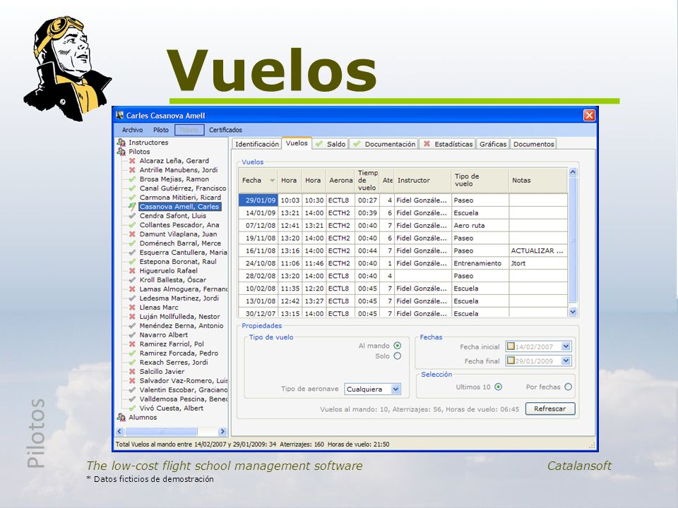 Vuelos The low-cost flight school management software Catalansoft * Datos ficticios de demostración Pilotos