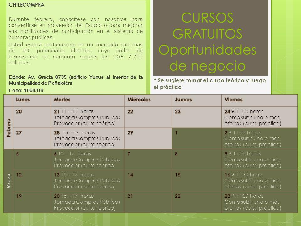 CURSOS GRATUITOS Oportunidades de negocio CHILECOMPRA Durante febrero, capacítese con nosotros para convertirse en proveedor del Estado o para mejorar