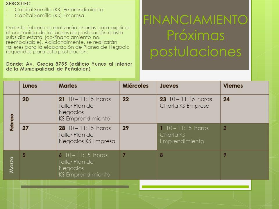 FINANCIAMIENTO Próximas postulaciones SERCOTEC - Capital Semilla (KS) Emprendimiento - Capital Semilla (KS) Empresa Durante febrero se realizarán char