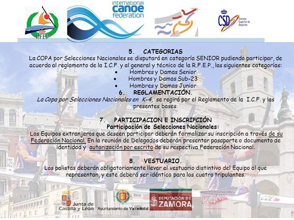 5.CATEGORIAS La COPA por Selecciones Nacionales se disputará en categoría SENIOR pudiendo participar, de acuerdo al reglamento de la I.C.F.