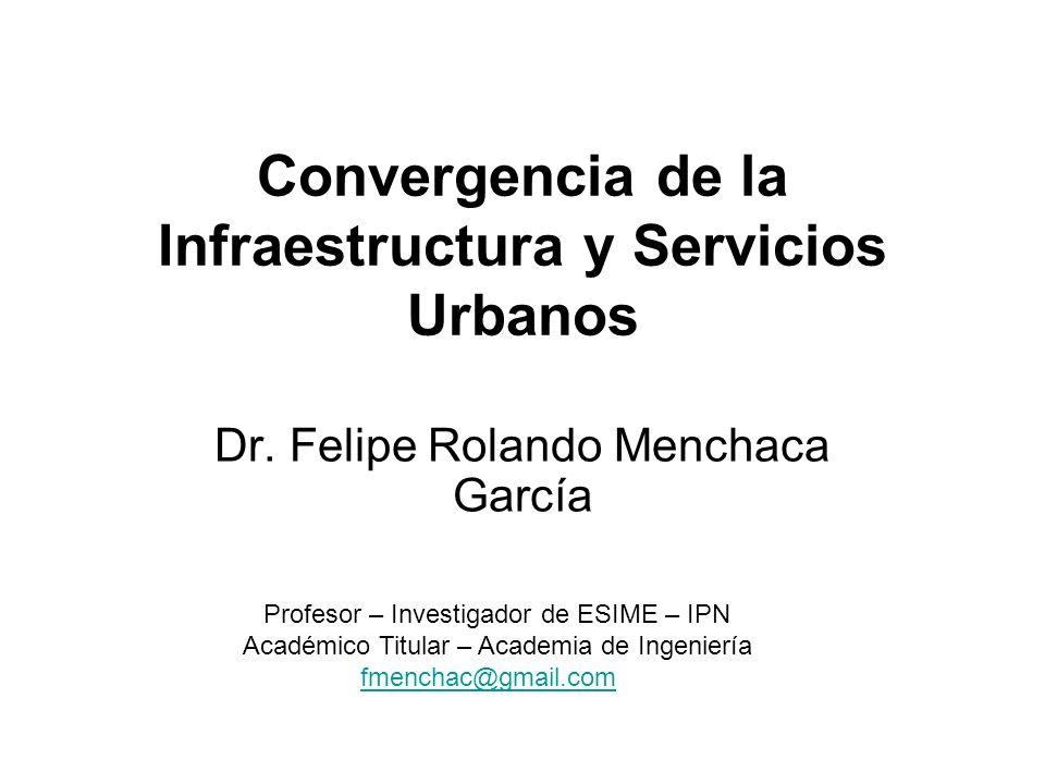 Convergencia de la Infraestructura y Servicios Urbanos Dr. Felipe Rolando Menchaca García Profesor – Investigador de ESIME – IPN Académico Titular – A