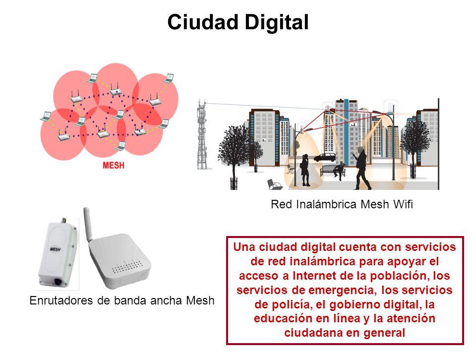 Ciudad Digital Red Inalámbrica Mesh Wifi Enrutadores de banda ancha Mesh Una ciudad digital cuenta con servicios de red inalámbrica para apoyar el acc