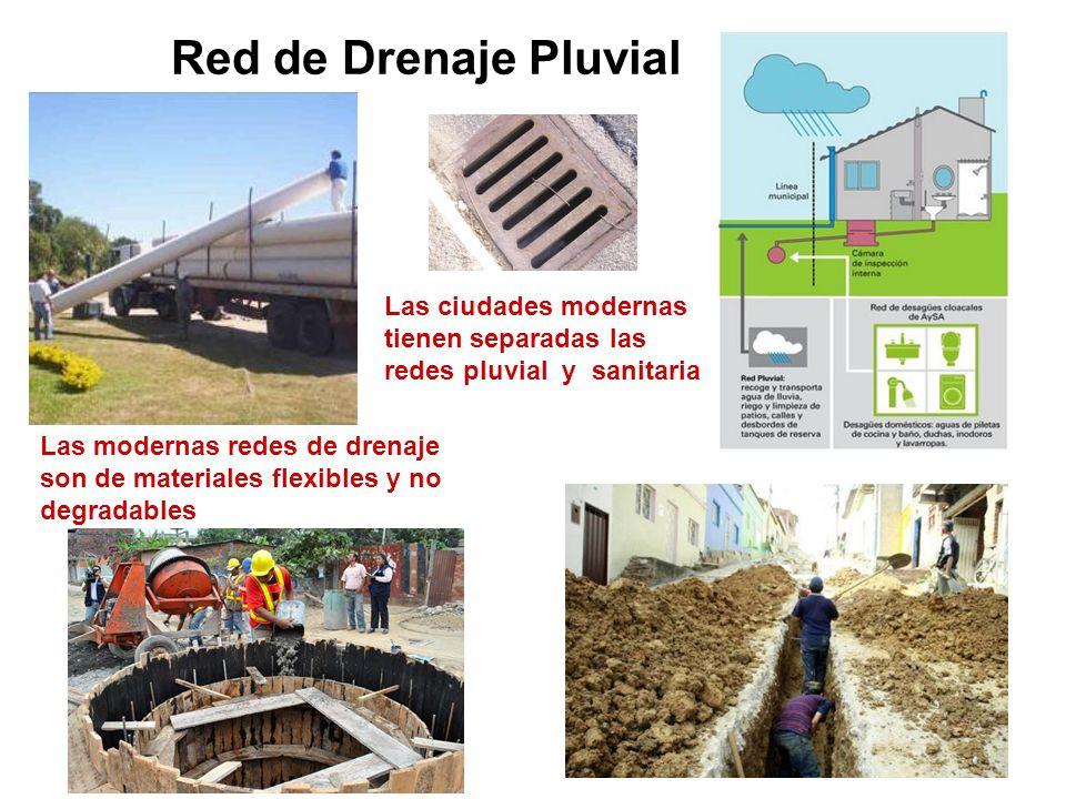 Red de Drenaje Pluvial Las ciudades modernas tienen separadas las redes pluvial y sanitaria Las modernas redes de drenaje son de materiales flexibles